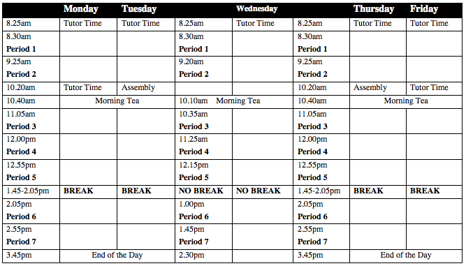 st margaret's college timetable